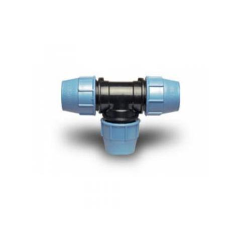 Фото тройника зажимного пластмассового соединительного для ПЭ труб 25 мм
